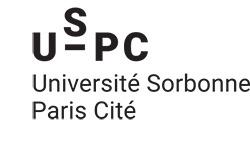 Logo de l'Université Sorbonne Paris Cité, rectancle, noir et blanc