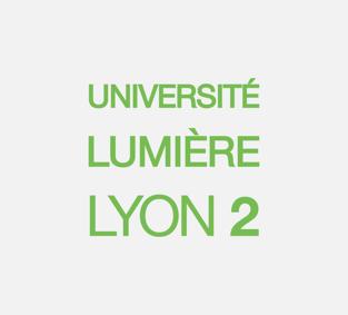 Logo université de Lyon 2, carré écriture verte