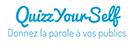 """logo QuizzYourSelf """"donnez la parole à vos publics"""" rectangulaire, bleu et blanc"""