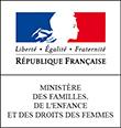 Logo du ministère des familles, de l'enfance et des droits des femmes, rectangulaire, bleu blanc rouge