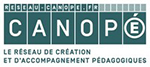 Logo de Canopé, rectangulaire, vert foncé et blanc