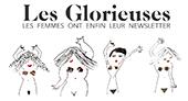 logo glorieuse, ecriture en noir et dessins de 4 femmes sur la ligne du dessous