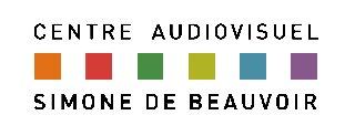 Logo du Centre audiovisuel Simone de Beauvoir, rectangulaire, avec 6 petits carrés multicolore