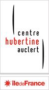 Logo du Centre Hubertine Auclert, retangle en hauteur, rouge et noir