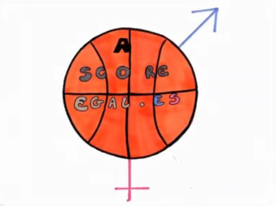 """dessin d'un ballon de football orange avec le titre du film ecrit """"a score egal.es"""""""