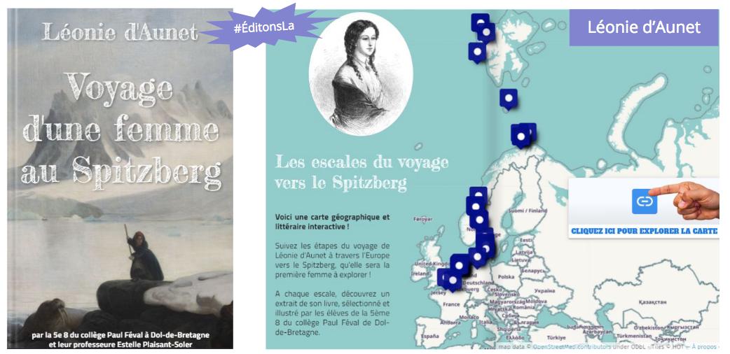 """Couverture du livre grise """"Voyage d'une femme au Spitzberg"""" et une page bleue avec la carte du voyage"""