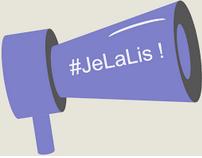 Un megaphone violet avec ecriture blanche  #JeLaLis
