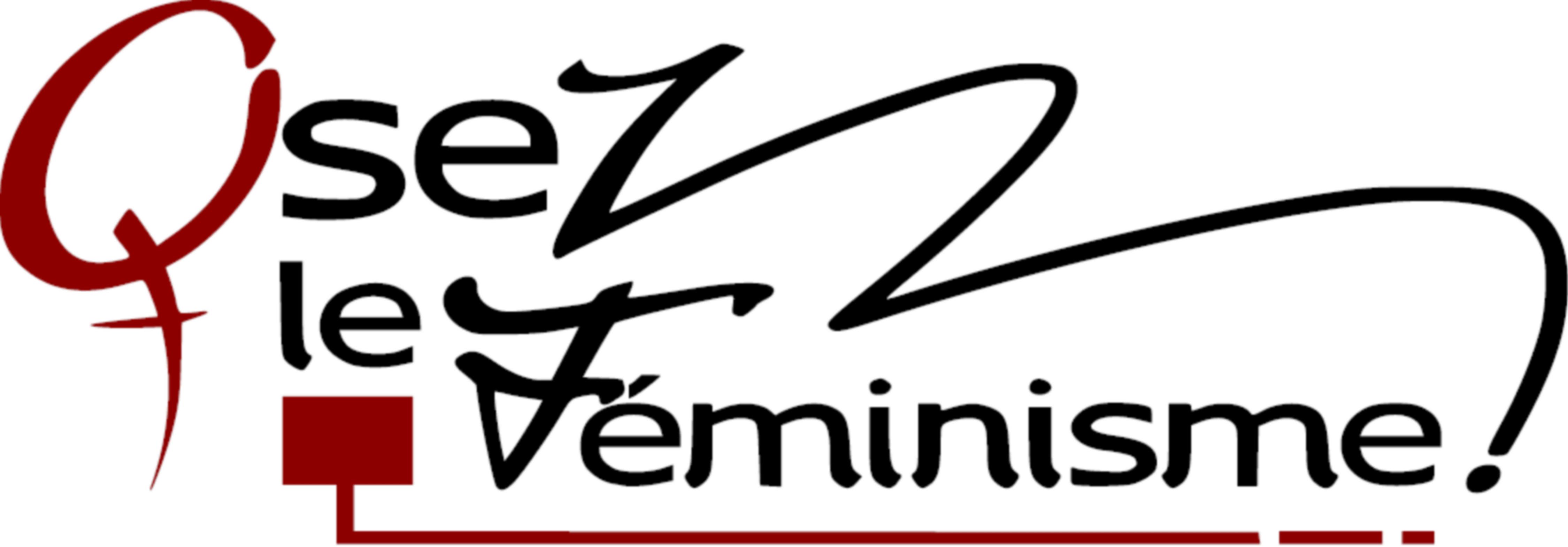 logo osez le féminime couleurs bordeaux et gris