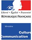 Logo du ministère de la culture, rectangulaire en hauteur, bleu, blanc, rouge