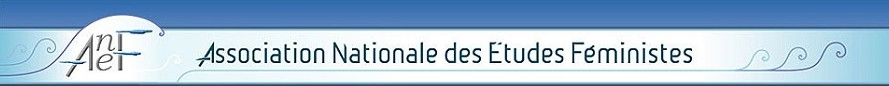 logo ANFE bleu en longueur association Nationale des Etudes Féministes