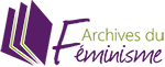 Logo Archives du féminisme, rectangulaire, violet et vert, avec un livre ouvert