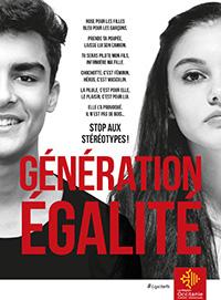 """Visage d'un jeune homme à gauche et d'une jeune femme à droite en noir et blanc et écriture rouge au centre """"Génération égalité"""""""