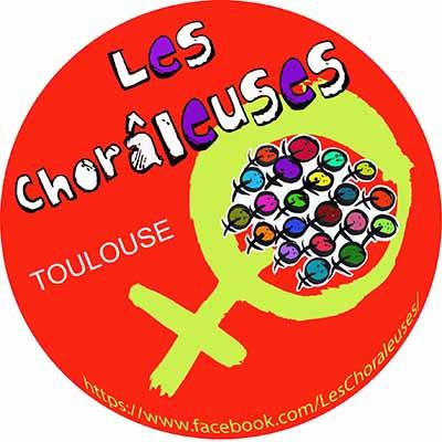 logo choraleuses, rond rouge avec sigle femme en vert et plein de sigles femmes en petit multicolores