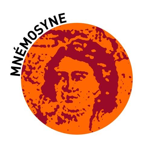 logo mnémosyne, visage dans un rond orange