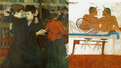 A gauche une peinture représentant un couple de femme qui dansent à droite un dessins de l'antiquité de 2 hommes torse nus enlacés