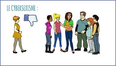 Groupe de jeunes à droite dessiné et a gauche une jeune femme seule, au milieu le dessin stylisé d'un pouve vers le bas, style facebook