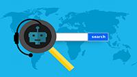 carte géo bleu avec dessin de robot avec casque et micro