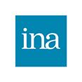 logo INA, carré bleu et blanc